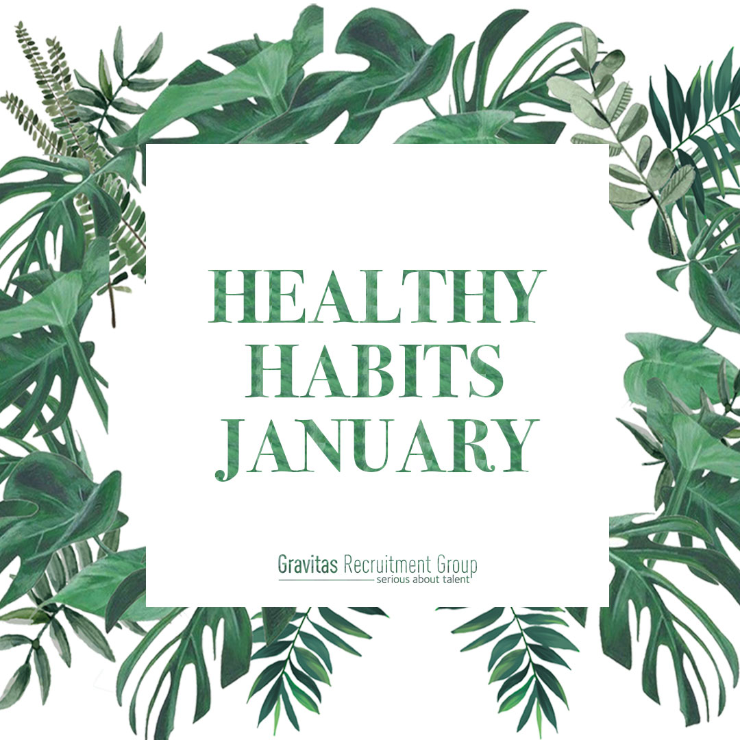 The title 'Healthy Habits January' in a frame surrounded by plants and leaves
