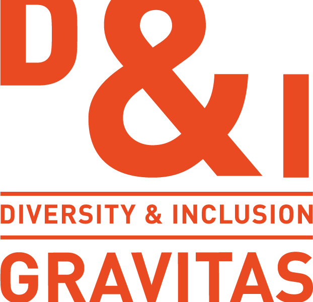 A logo showing the words 'D&I: Diversity & Inclusion, Gravitas'