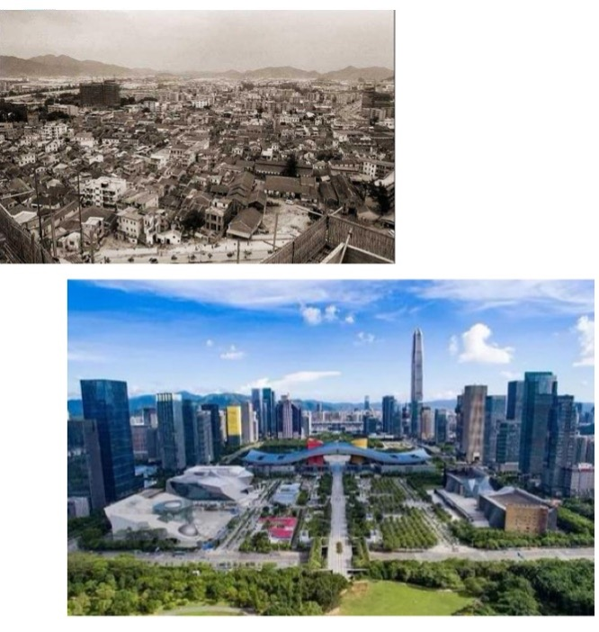 two images, one is sepia olden view of Shenzhen, the other a modern day sehzhen in colour with bright blue skies and tall skyscrapers